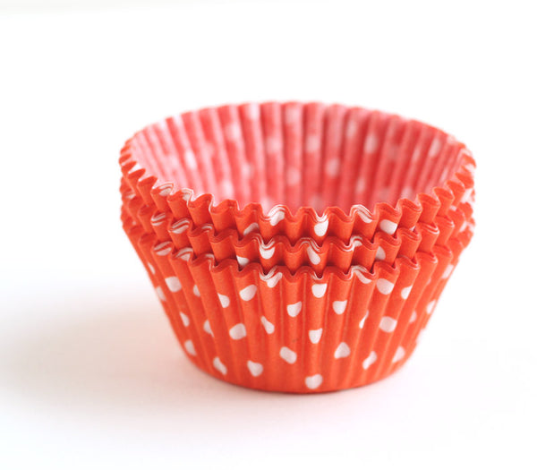 Orange Polka Dot Cupcake Liners
