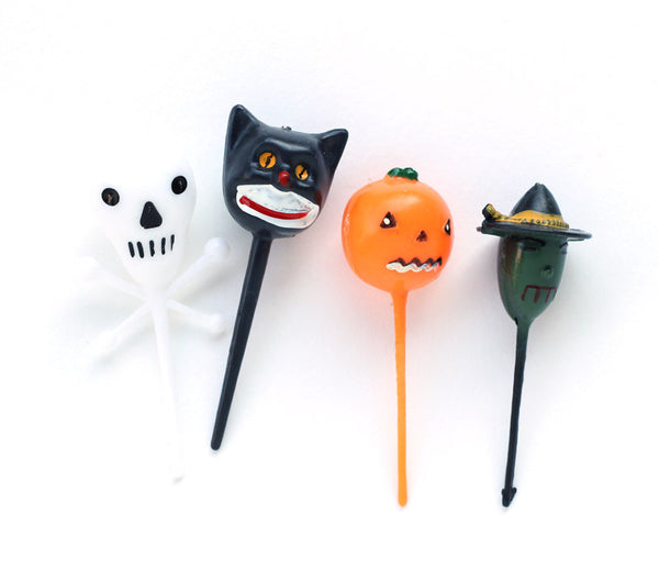 Retro Halloween Picks - Skull, Cat, Pumpkin and Witch Cupcake Picks