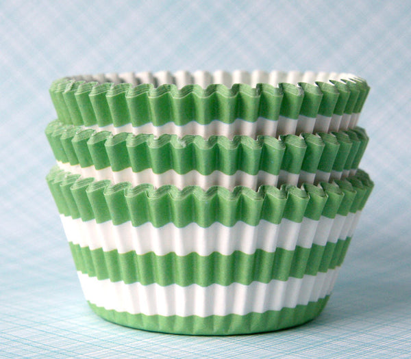 Green Horizontal Stripe Cupcake Liners
