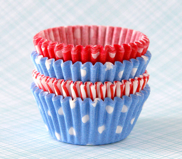 MINI Holiday Mix Cupcake Liners - Light Blue and Red