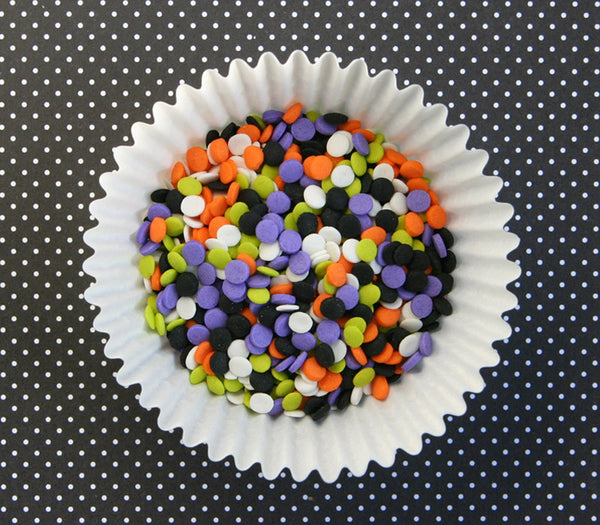 Halloween mini confetti quins for decorating Halloween cupcakes and cookies in orange, black, lime, purple and white.