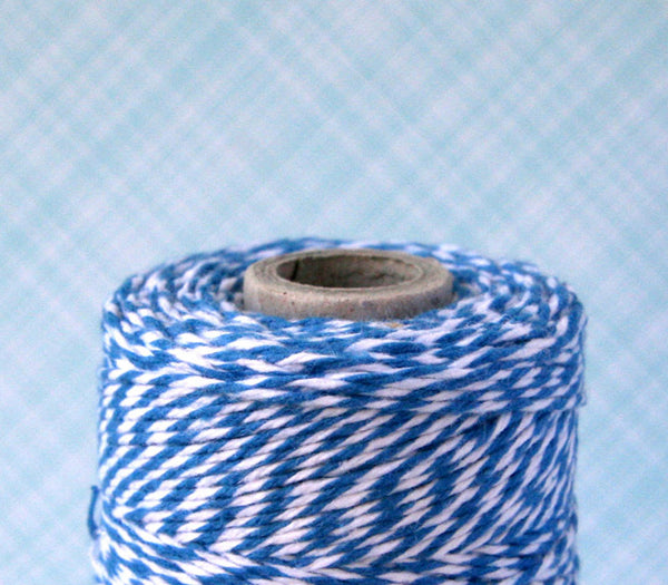 Blue Baker's Twine - Denim Blue and White Striped Twine
