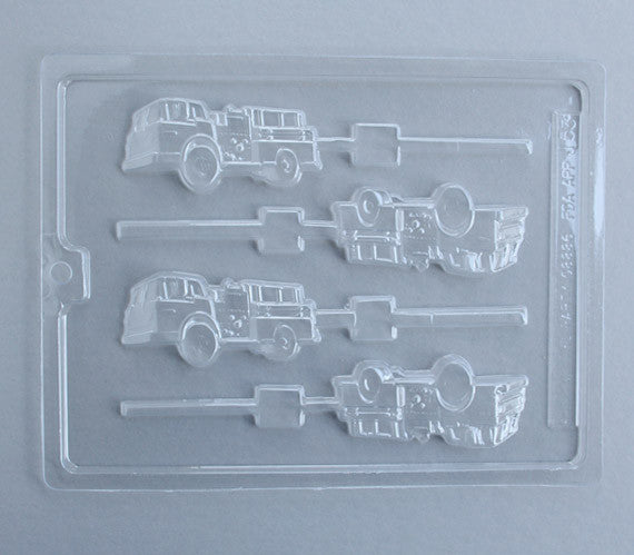 Fire Engine Chocolate Sucker Mold, Fire Truck Chocolate Lollipop Mold
