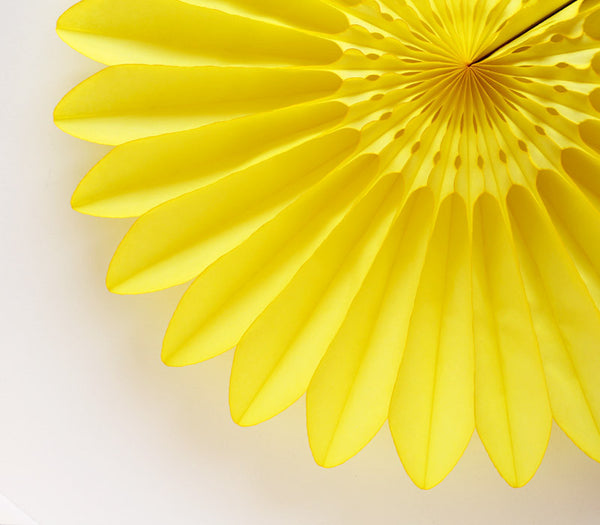 Yellow Honeycomb Tissue Flower Fan