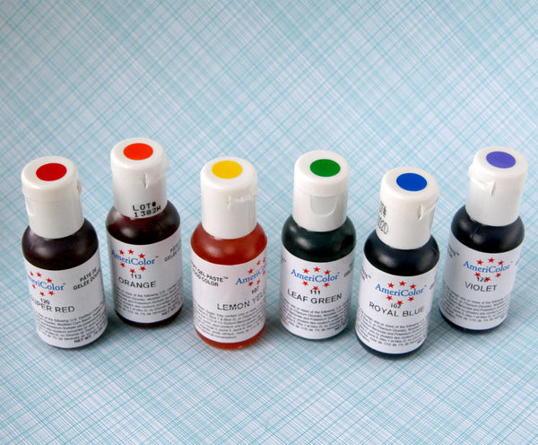Rainbow Mix of Americolor Gel Paste Food Colorings in 6 Colors