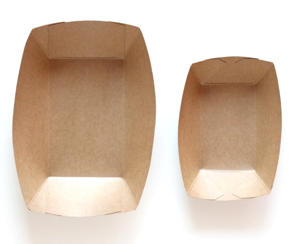 Large and Regular Sized Kraft Paper Food Trays