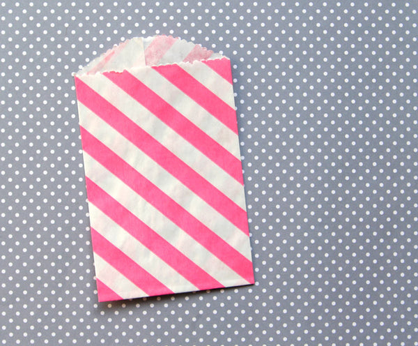 small pink diagonal striped goody bag