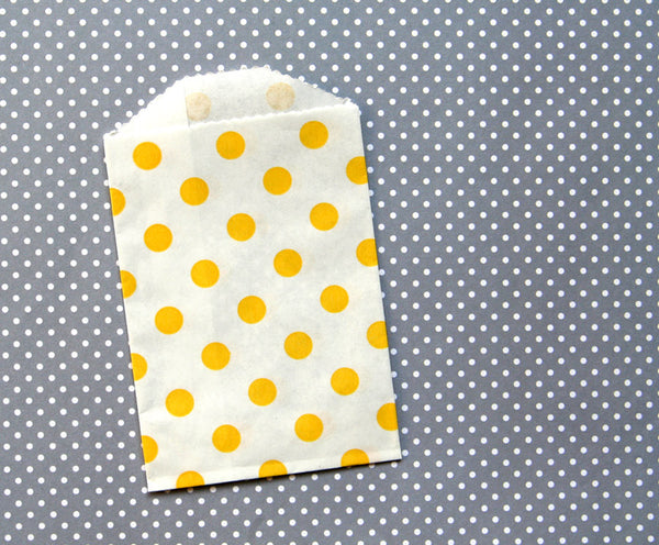yellow polka dot paper bags