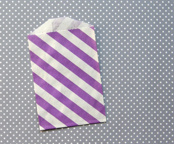 purple diagonal stripe paper bags