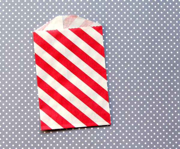 red diagonally striped goody bags