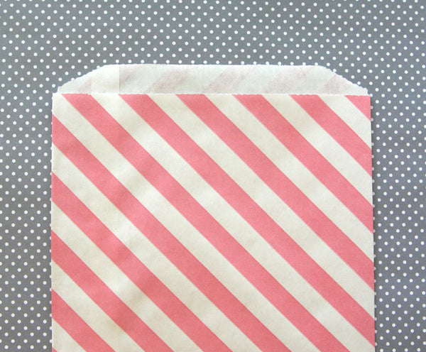 Pink Diagonal Stripe Bags - Large