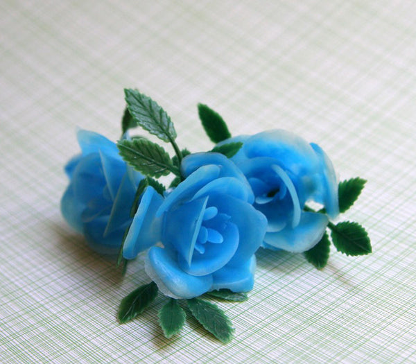 SALE: Blue Rose Cupcake Toppers