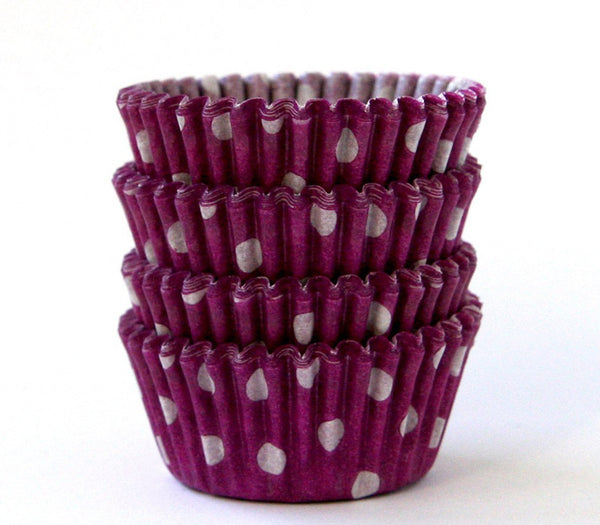 MINI Purple Polka Dot Cupcake Liners