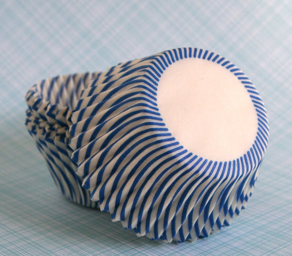 Blue Striped Cupcake Liners
