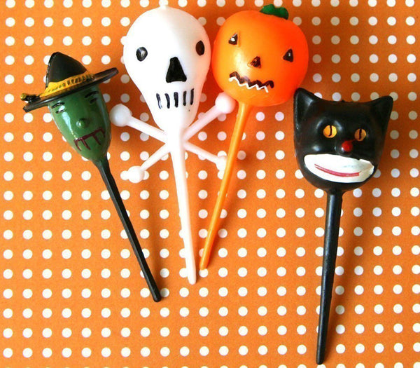 Retro Halloween Picks - Witch, Cat, Skull, Pumpkin