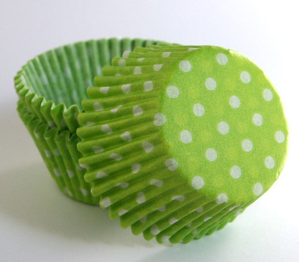 Lime Green Polka Dot Cupcake Liners