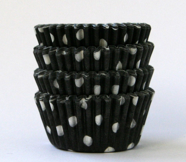 MINI Black Polka Dot Cupcake Liners