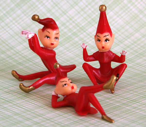 Red Christmas Elf Cupcake Toppers