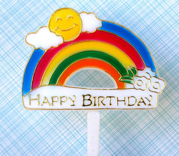 Retro Rainbow Happy Birthday Pick