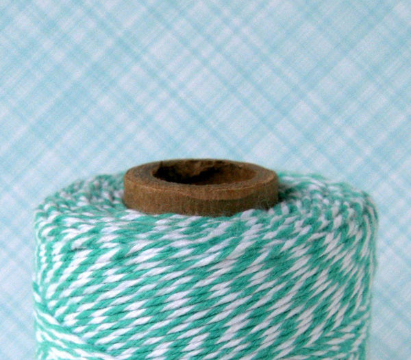 Teal Baker's Twine - Teal and White Striped Twine