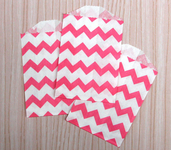Pink Chevron Bags - Small