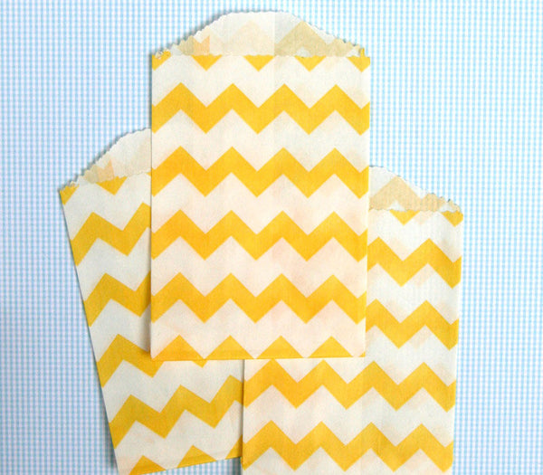 Yellow Chevron Bags - Small