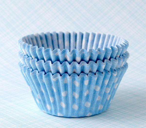 Light Blue Polka Dot Cupcake Liners