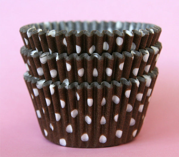 Brown Polka Dot Cupcake Liners