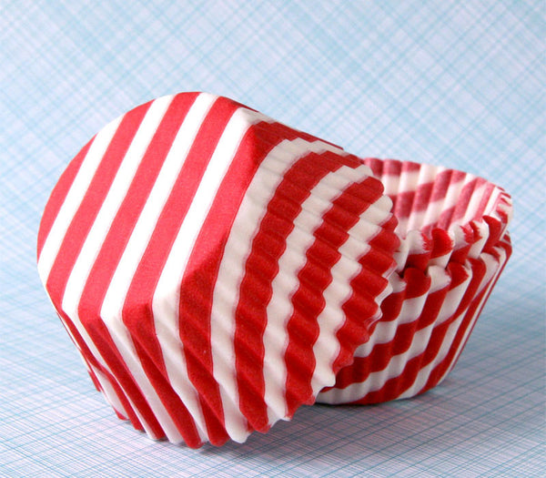 Red Barber Stripe Cupcake Liners