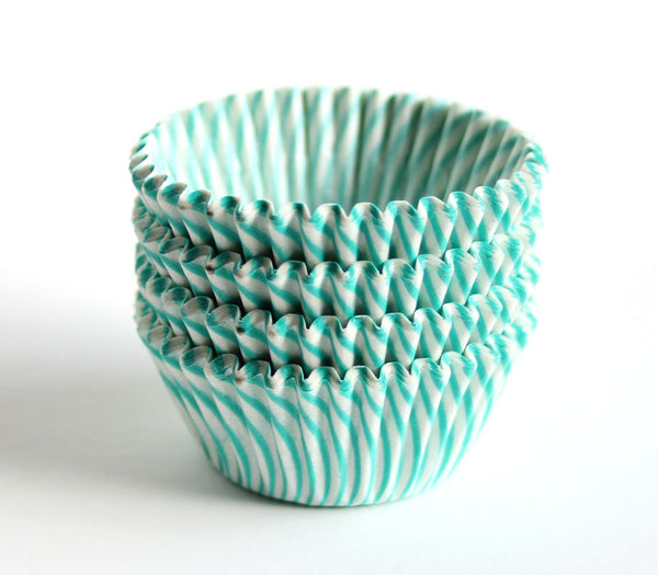 Aqua Mini Striped Cupcake Liners