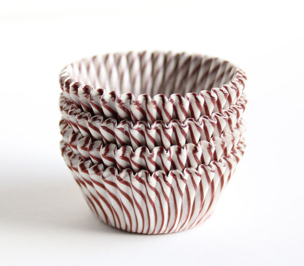 Brown Striped Mini Cupcake Liners