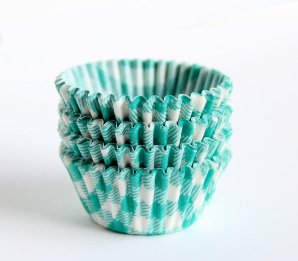 Mini Green Gingham Cupcake Liners