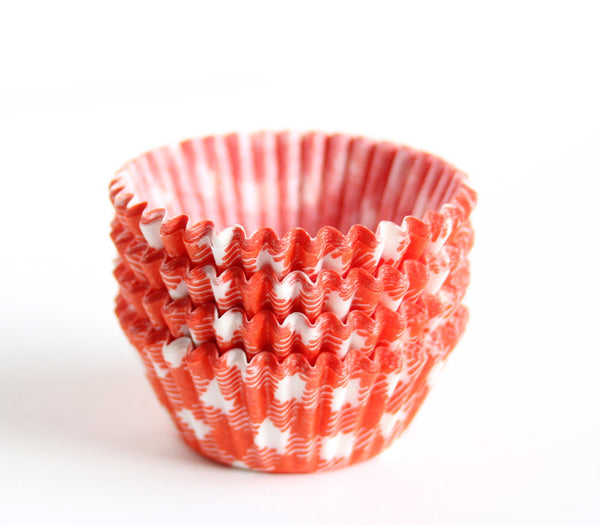 Mini Orange Gingham Cupcake Liners