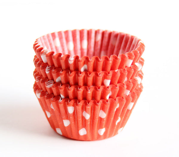 Mini Orange Polka Dot Cupcake Liners