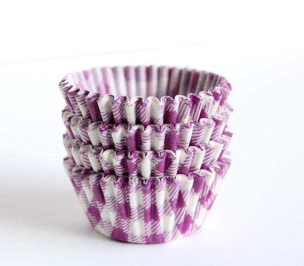 Mini Purple Gingham Cupcake Liners