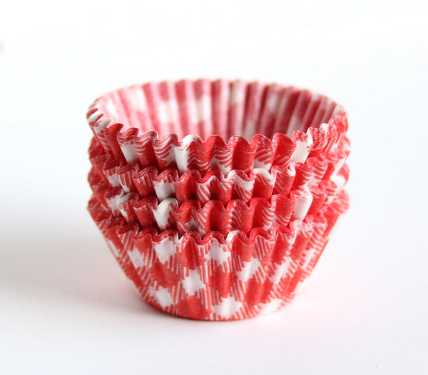 Mini Red Gingham Cupcake Liners