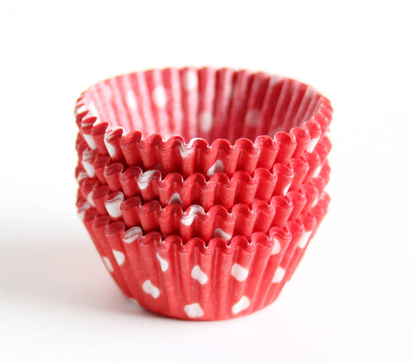 Mini Red Polka Dot Cupcake Liners