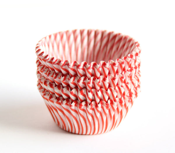 Mini Red Stripe Cupcake Liners