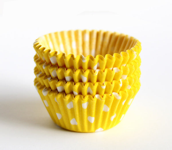 Mini Yellow Polka Dot Cupcake Liners