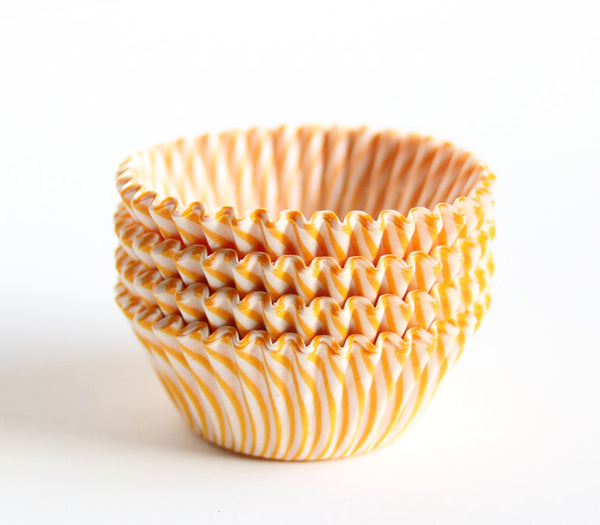 Mini yellow striped cupcake liners