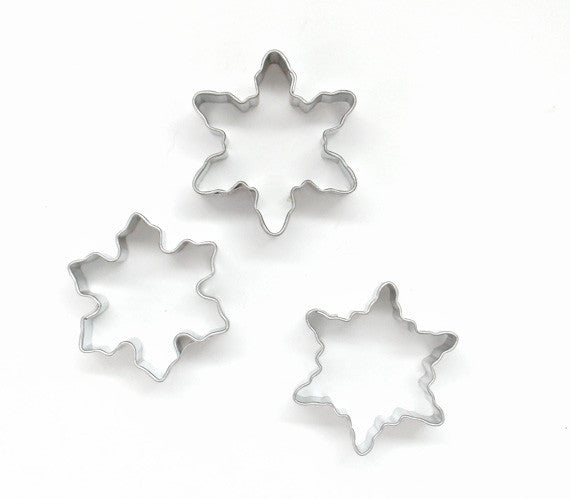 mini snowflake cookie cutters, snowflake piecrust cutters