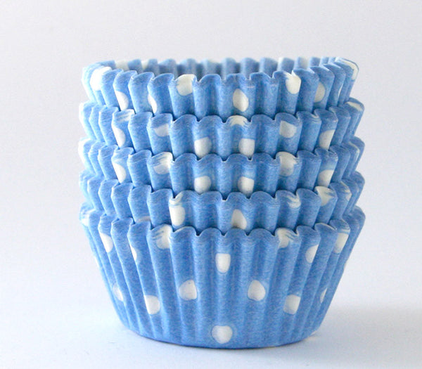 MINI Light Blue Polka Dot Cupcake Liners