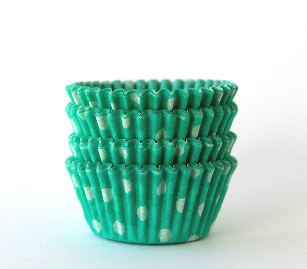 MINI Green Polka Dot Cupcake Liners