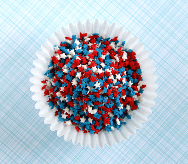 Mini star sprinkles - red, white and blue