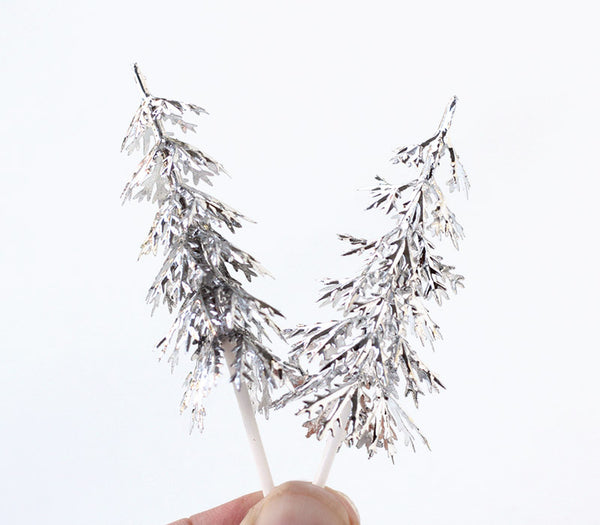 Silver Pine Tree Cupcake Picks