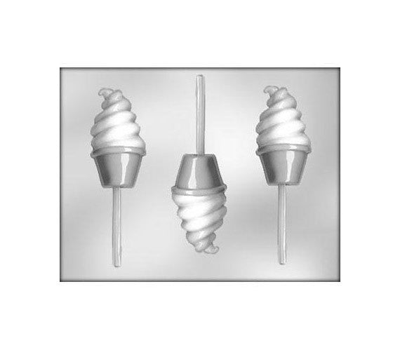 Soft Serve Ice Cream Chocolate Lollipop Mold