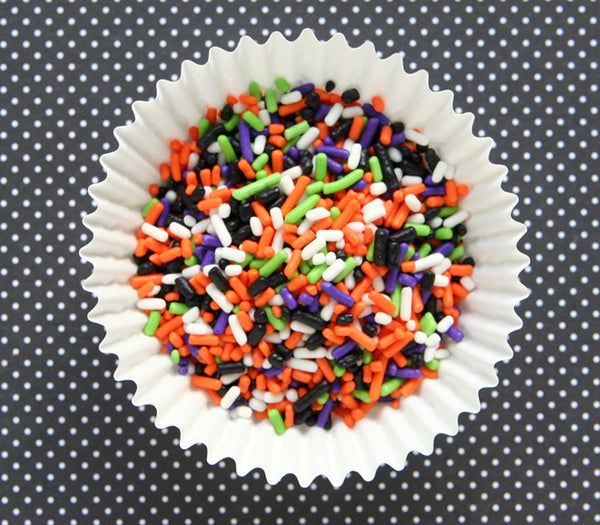 Halloween Sprinkles Mix in Lime Green, Purple, Orange, Black and White