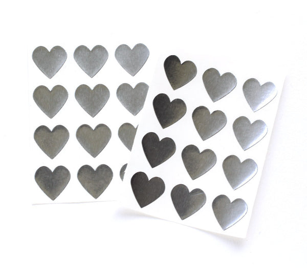 silver foil heart stickers