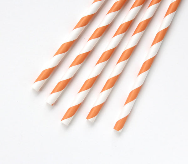 Orange Stripe Paper Straws