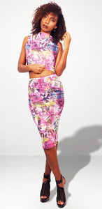 Sheer Vision Crop Two PC Skirt Set